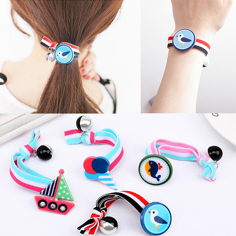 Hot Korean Boat Bird Hair Rope For Women Bracelets Cartoon Kawaii Creative Elastic Girls Hair Accessorie