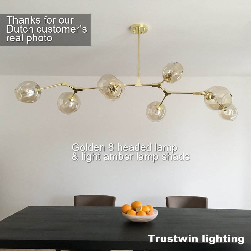 Image 2 - Vintage magic hanging light stylish sphere ball industrial LOFT Iron droplight Black Gold tree classic modern LED pendant lamp-in Pendant Lights from Lights & Lighting