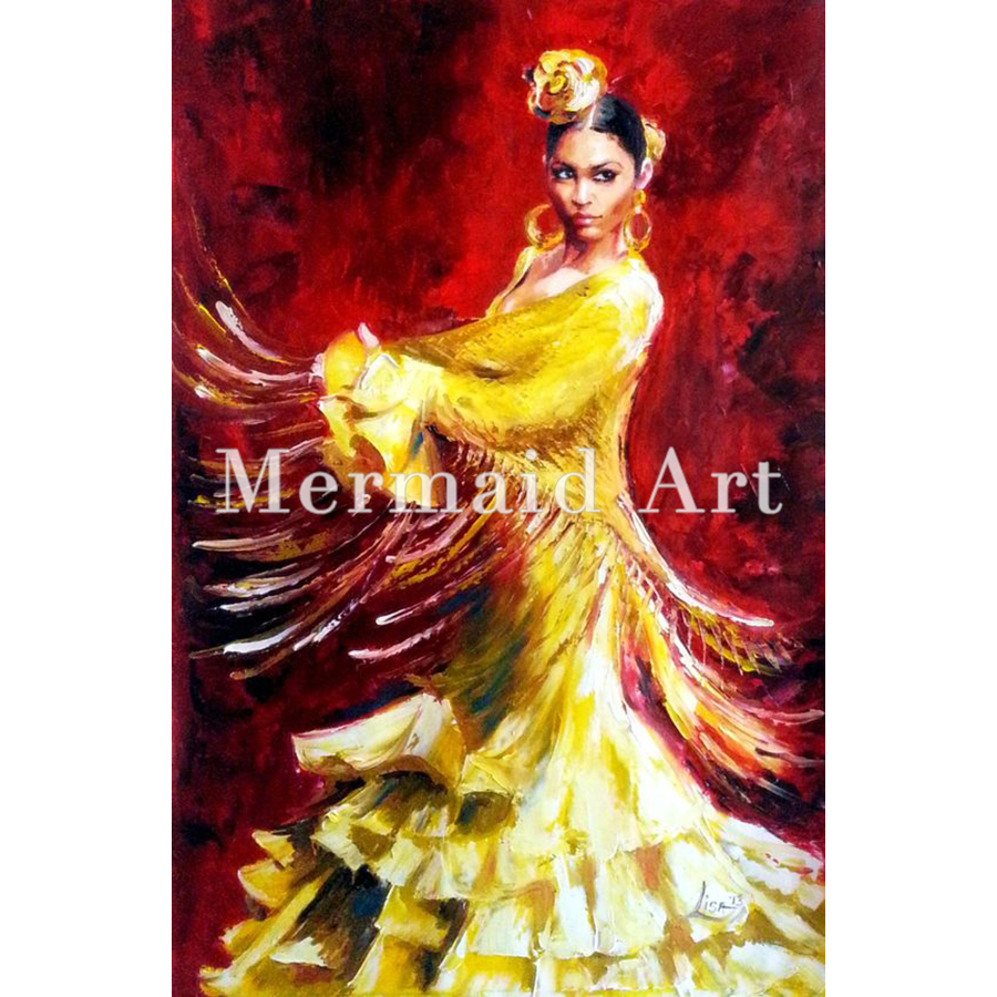 Handpainted Spanish Woman Heat Dancing Dancer Oil Painting On Canvas Flamenco Dancing Oil PaintingsHandpainted Spanish Woman Heat Dancing Dancer Oil Painting On Canvas Flamenco Dancing Oil Paintings