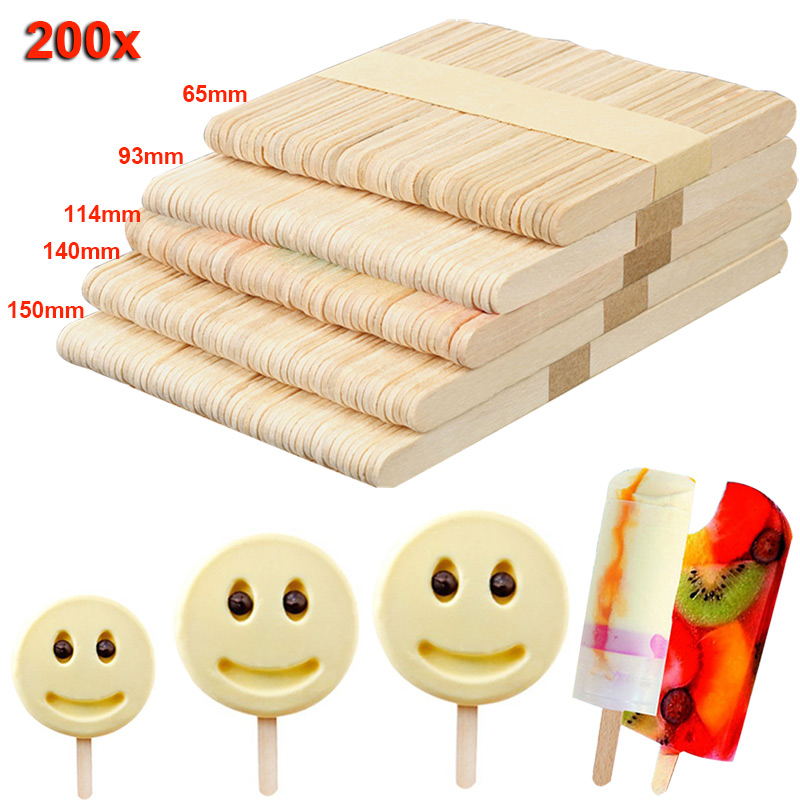 200pcs Wooden Ice Cream Sticks Treat Sticks Freezer Pop Sticks Wooden Sticks for Ice Cream Bars 65/93/114/140/150mm Hoga TB Sale