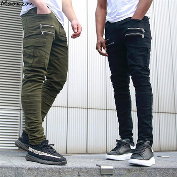 016d5c7f8f Maoxzon hombres Casual activo Delgado elástico Delgado pantalones largos  para hombre negro verano moda Zipper bolsillo
