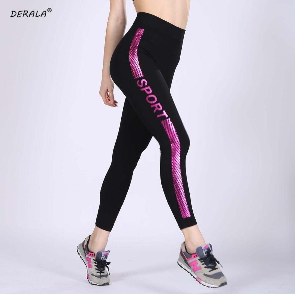 DERALA Письмо печати Для женщин тренировки Леггинсы Бесшовные Фитнес Легинсы тренировки брюки Athleisure Activewear Legins Feminina