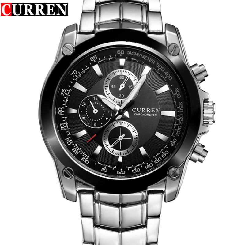 New CURREN Watch Men Luxury Brand Full Steel Business Quartz Watch Men Casual Quartz-watch Relogio Masculino CLock Male Japan mike 8831 men s business casual quartz watch silver blue
