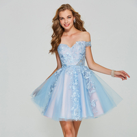 Tanpell Blue Short Homecoming Dresses Appliques Lace Short Sleeves Ball Gown Women Cocktail Party Prom Customed