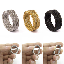 High Quality Fashion 316l Stainless Steel Rings Silver Gold Black Mesh Retro Punk Gothic Ring Mens