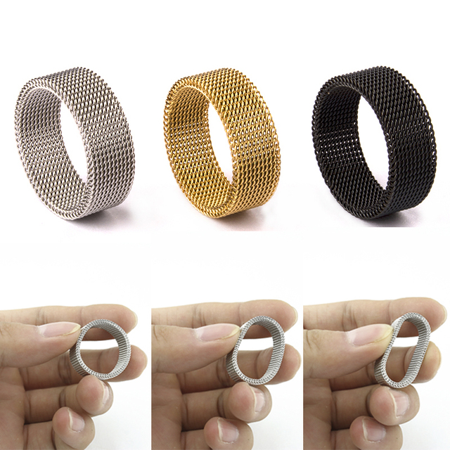 High Quality Fashion 316l Stainless Steel Rings Silver/Gold/Black Mesh Retro Punk Gothic Ring Mens Jewelry 8mm Width Size 6-13