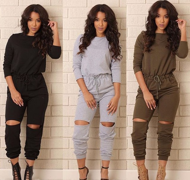 Hot Sale GOOD Fabric New Vestidos Fashion Sports Long Jumpsuit Sexy Women Rompers Catsuits Playsuits Ripped