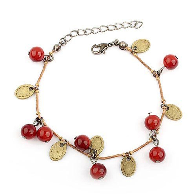 Guaranteed 100%,New Arrival Korean  Style Sweet Cherry Aesthetic Charm Bracelet  B27