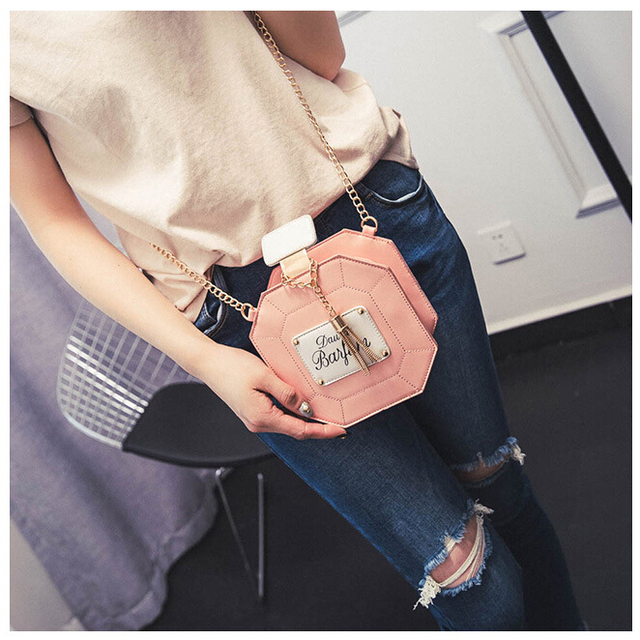Yogodlns Leather Perfume Bottle Chain Mini Clutch Bag 2017 Women Handbag Fashion Party Women Bags Evening Bags