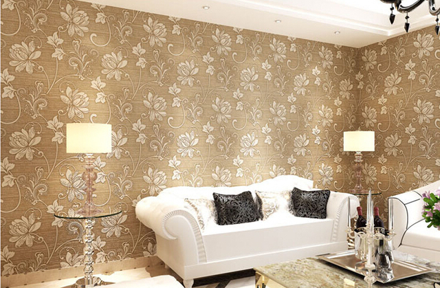 Desktop wallpaper damask glitter 3d flower papel de parede home decor living room bedroom kids room