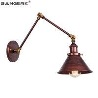 בציר תעשייתי סגנון ארוך זרוע LED מנורת קיר לופט נדנדה פמוט קיר אורות דקור חלודה ברזל בית תאורה להתאים גופי