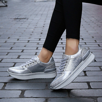 Women Sneakers Shoes Woman Flats Shoes Silver Fish Scale Design Bling Shiny Vulcanize Shoes Flats Sneakers Female Обувь
