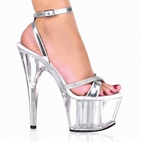 Transparent Crystal Noble Rhinestone Princess Dinner Formal Dress 15cm High Heeled Shoes 6 Inch Silver Sexy
