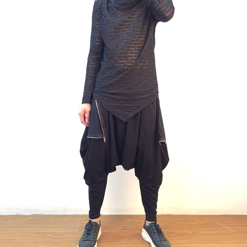 Solide Hose Wycbk Schwarzes Mode Kalb Männer Herren Neue Drop Hosen Beiläufige Baumwolle Gabelung 2018 Lose länge Sommer ATqFxwgA