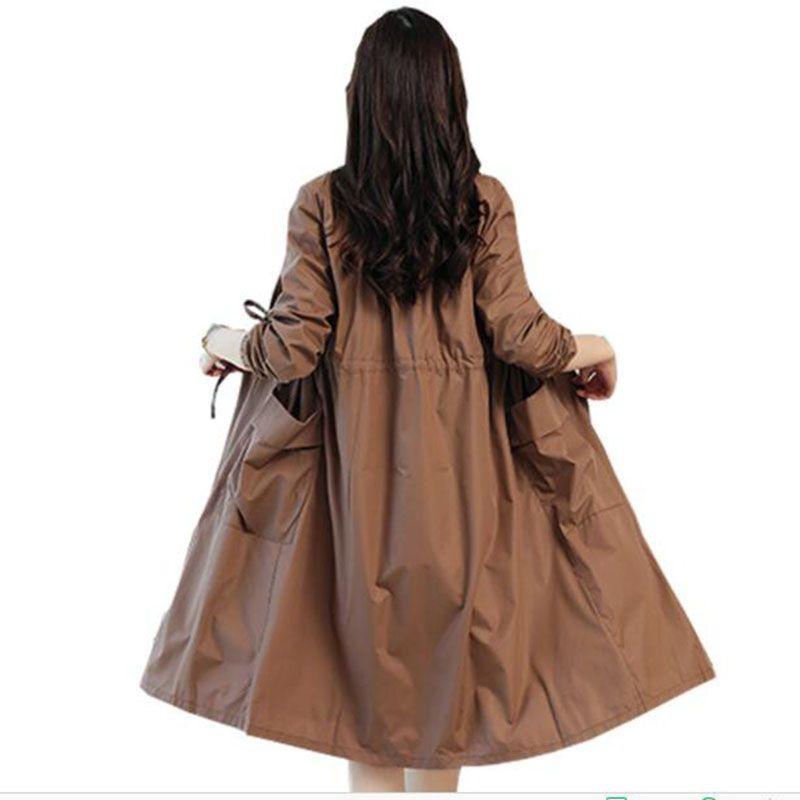 2018 women Spring long windbreaker Coat Drawstring Hem Long Sleeves Cardigan Trench Coat Autumn Lightweight Windbreaker Women