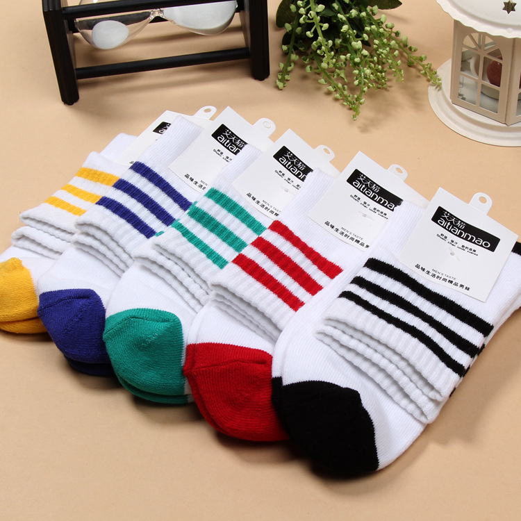 Harajuku Funny Mens Ankle Socks Striped 5 colors 2018 High Quality Triple Bar Sweat-absorbent cool Sweat Socks Cotton Clothes