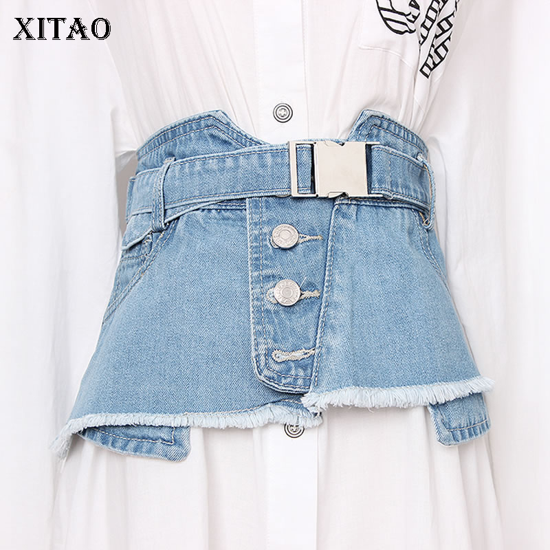 XITAO Irregular Burr Pocket Cummerbunds Denim Women Korean Fashion Sashes Single Breasted Cummerbunds Match All New GCC1071