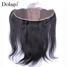 Jedwabiste proste jedwabne zamknięcie bazowe brazylijskie 13X4 koronkowe przednie zamknięcie z dziecięcymi włosami dziewiczą naturalną linią włosów Silk Top Dolago
