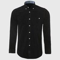 Men Button Corduroy Shirt Flannel Dress Shirt Long Sleeve Male Slim Cotton Clothes Contrast Cuff Designer