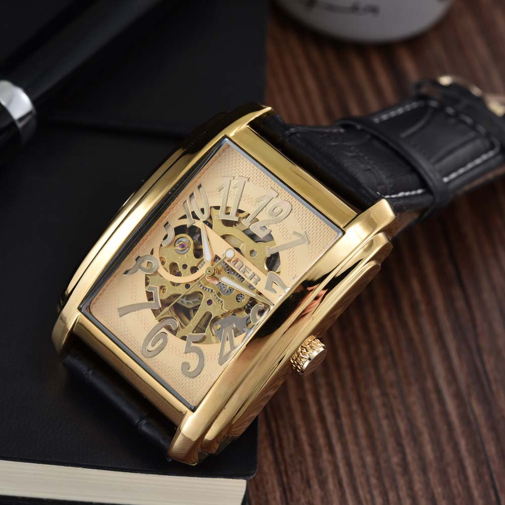 Relogio Masculino GOER Top Brand Luxury Gold Skeleton Automatic Mechanical Watches Men Leather Band Rectangle Watches For Men цена и фото