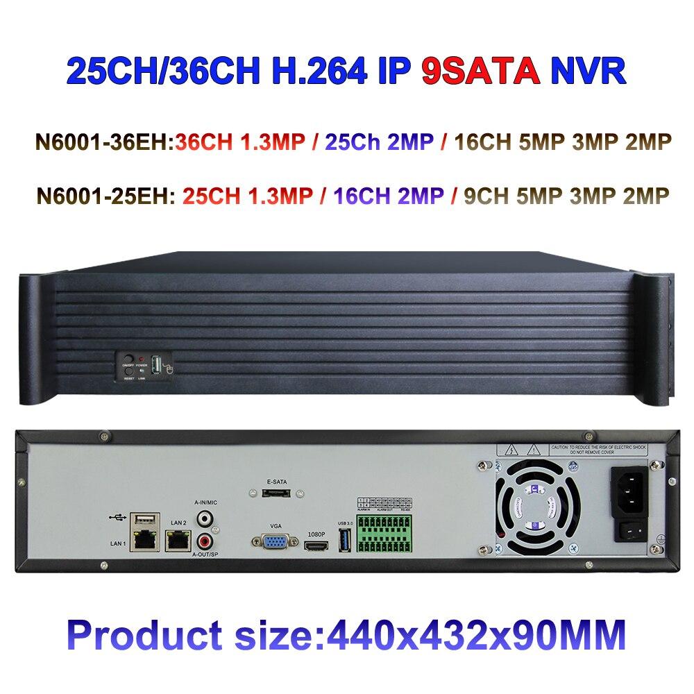 36ch 25ch NVR Optional CCTV NVR support 5MP/3MP/2MP/1MP IP Camera inputs, VGA&HDMI Output, ONVIF P2P NETWORK VIDEO Recorder