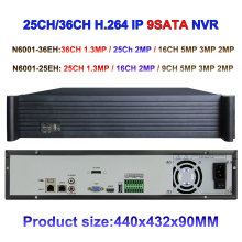 36ch 25ch NVR Optional CCTV NVR support 5MP/3MP/2MP/1MP IP Camera inputs, VGA&HDMI Output, ONVIF P2P NETWORK VIDEO Recorder