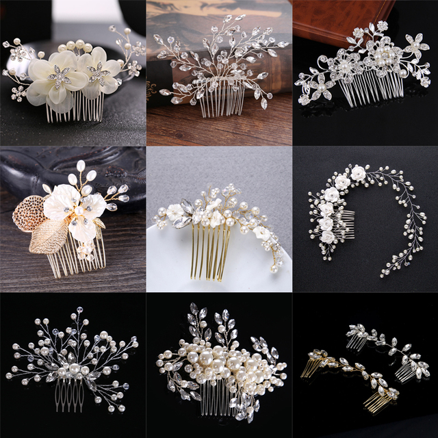 Duolafine Hair Jewelry Handmade Flower Crystal Pearl Wedding Hair Accessories Ha