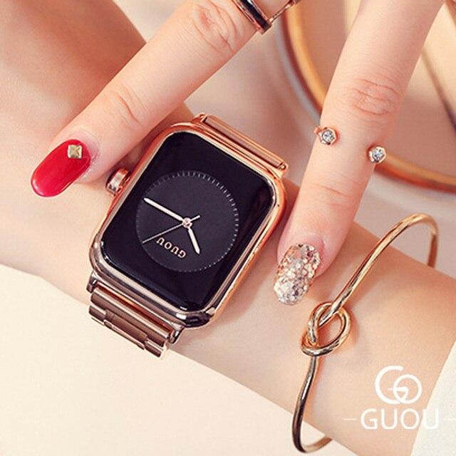 Женские Часы GUOU 2019, роскошные часы, модные женские часы из розового золота, женские часы, женские часы