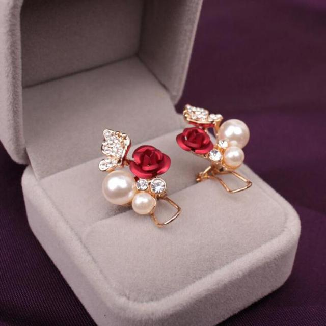 Utrend Rhinestone Earrings For Women Luxury Crystal Rose Flower Simulated Pearl Ear Cuff Clip Earring
