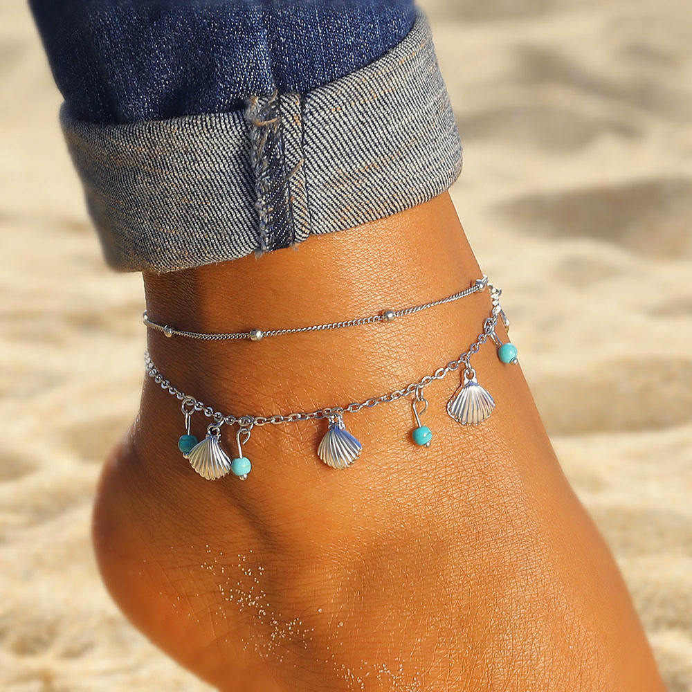 Shell Pendant Anklets For Women Vintage Stone Beads Anklet Set Bohemian Bracelet Ankle On Leg Summer Beach Anklet Ocean Jewelry