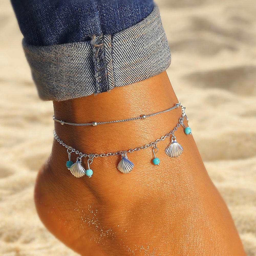 Shell Pendant Anklets For Women Vintage Stone Beads Anklet Set Bohemian Bracelet Ankle On Leg Summer Beach Anklet Ocean Jewelry