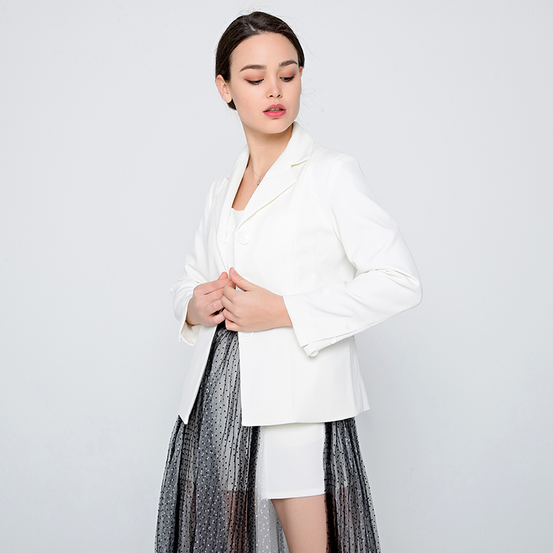 df3d25eab525 OFTBUY 2018 spring women set Casual white blazers jacket coat Rompers  jumpsuit Black white Wave point long Pleated Mesh skirt-in Women s Sets  from Women s ...