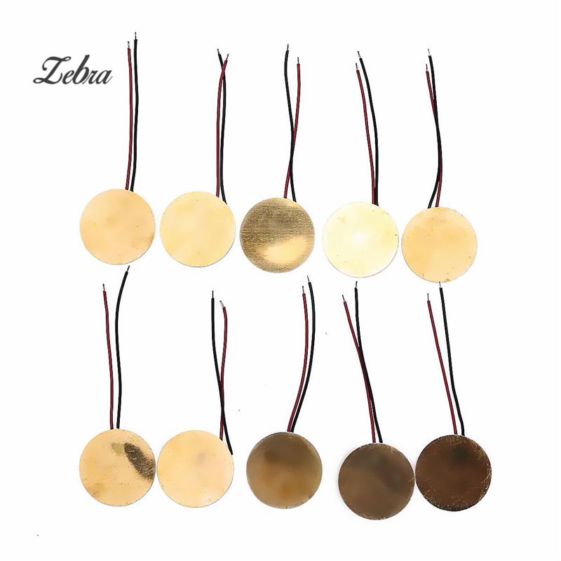 Zebra 10pcs/set 60mm Piezo Electric Brass Guitarra Guitar Transducer Pickups For Acoustic Guitar Ukulele Parts Accessories