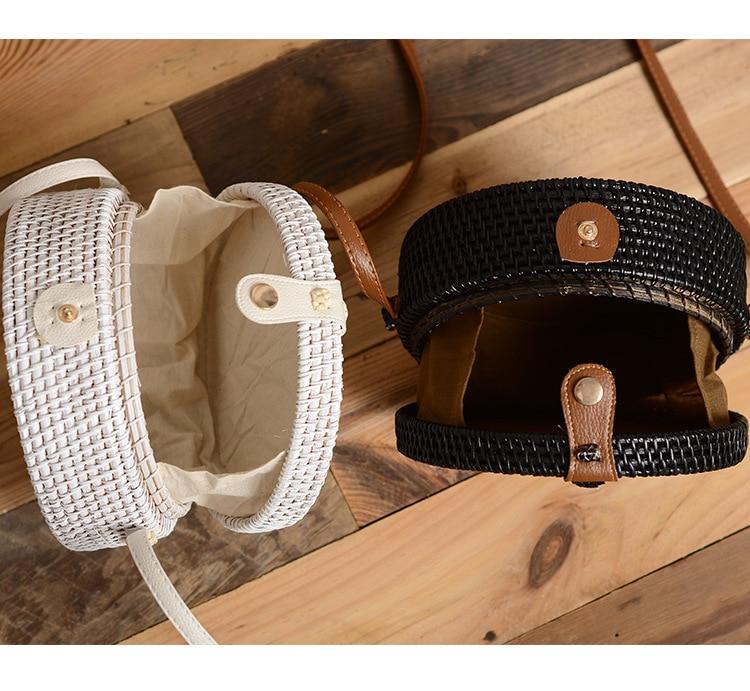 Black White Round Straw Bag Handbags Women Summer Rattan Bag Handmade Woven Beach Circle Bohemia Handbag New Fashion in Top Handle Bags from Luggage Bags
