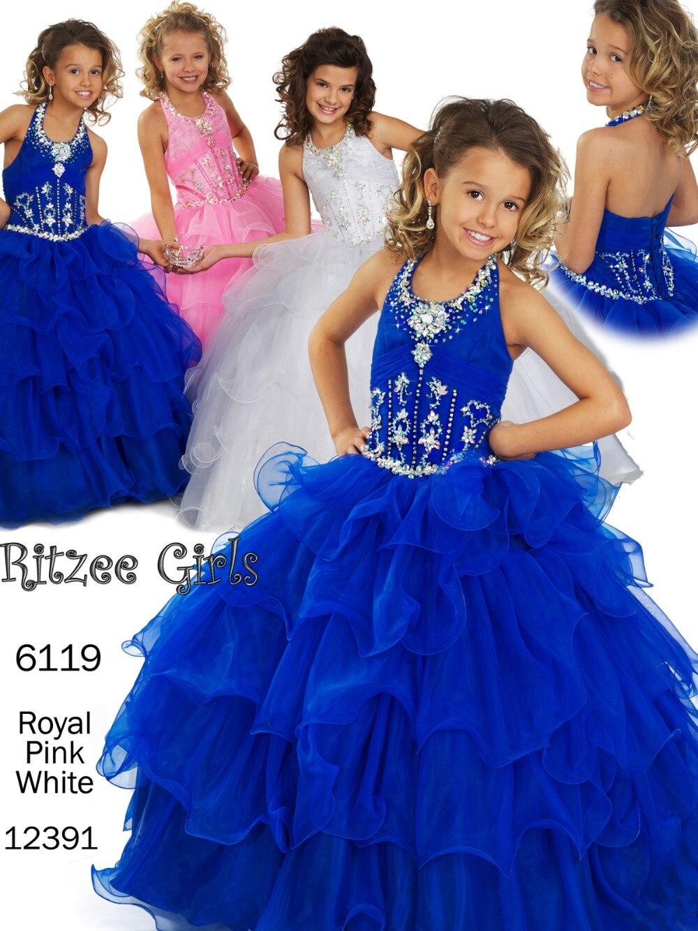 Bright Royal Blue Pink White Halter Beads Flower Girl Dresses ...