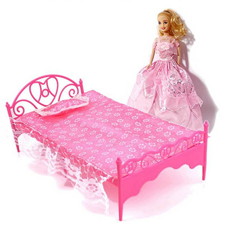New Random color Plastic Miniatures Bedroom Furniture Single Bed with pillow and Bed Sheet for Barbie Dolls Dollhouse kids gift russian lacquer miniatures