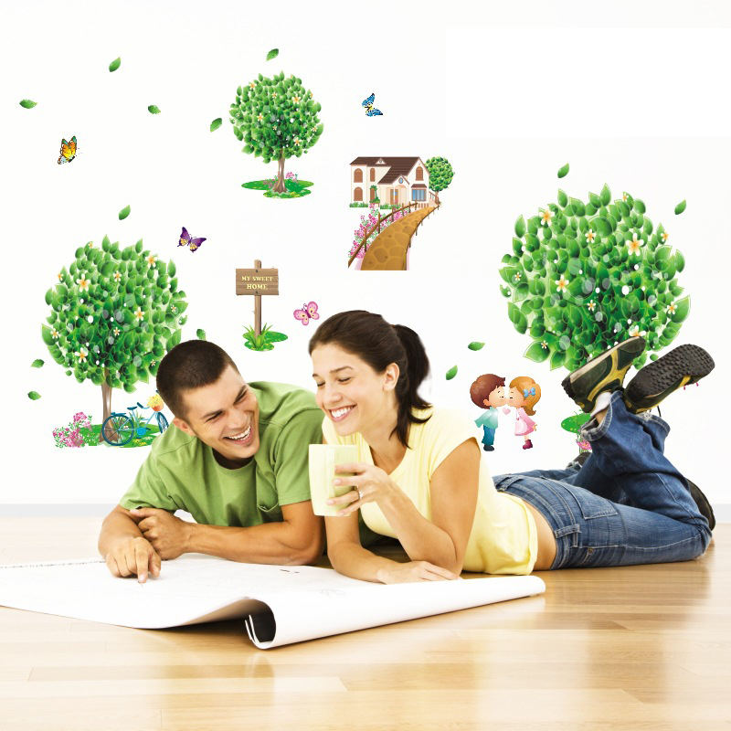 product 70X50cm Green Tree House Wall Stickers Simple Love Butterfly wall Decals Livingroom bedroom TV background Kid's room Decoration