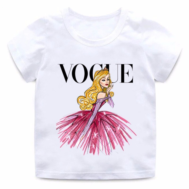 VOGUE Princess Print Girls T Shirt Cartoon Funny Casual Kids Clothes Summer Harajuku White Baby T-shirt,ooo5209
