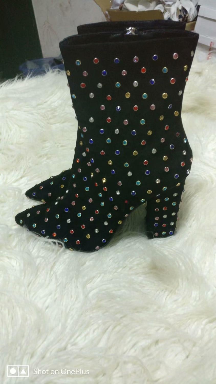 De Talón Colorido Diamante Imágenes Invierno Mujeres Boot Del Zapatos Punta Reales Estrecha Alto Vestido Heel Chunky ZRRfnqxPwT