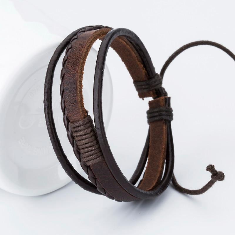 Hot sale! Fashion Charm Leather Bangle Men Bracelets Popular Boys DIY Bandage Strand Handmade Brown Weave Bracelets!