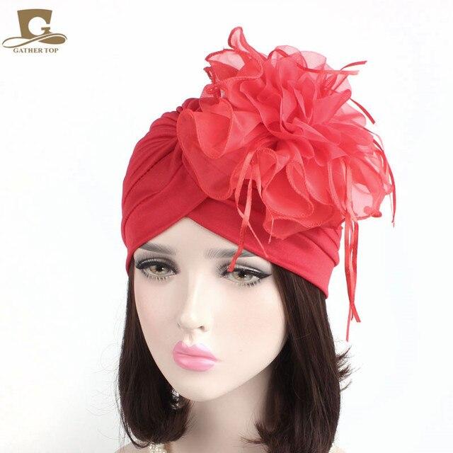 Fascinators Hats Womens Ruffle Turban Headwear With Big Poplin Flower  Cocktail Wedding Tea Party Hat Indian Turban Hats bff9d4b0cff