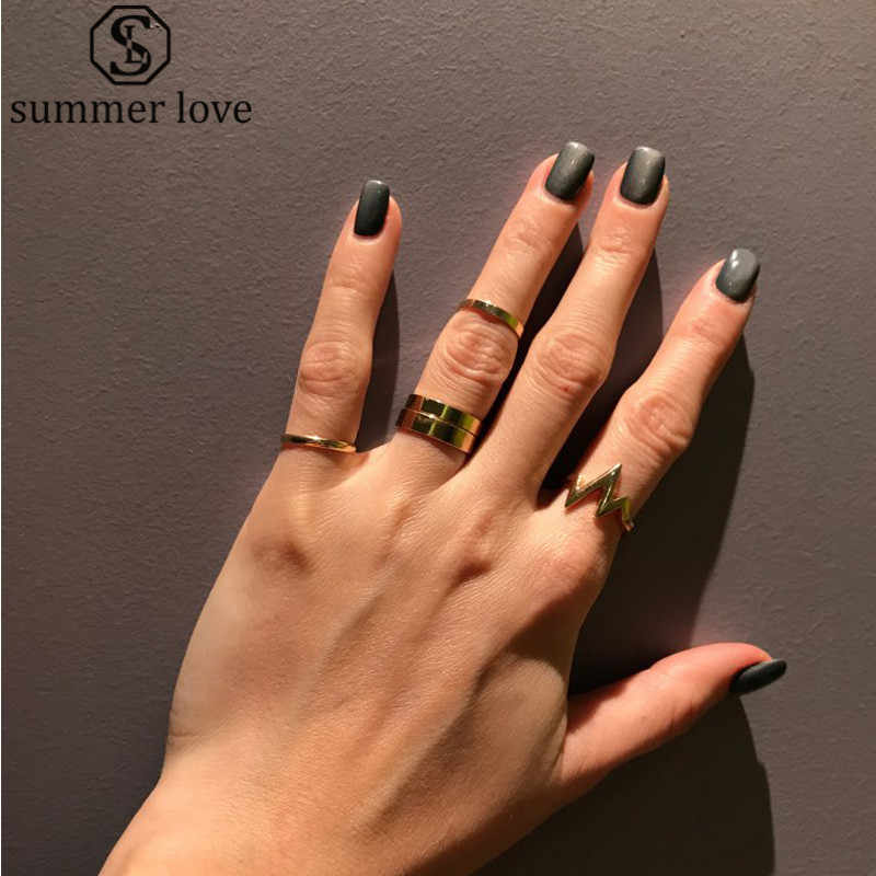 1Pc Heartbeat Ring Girls Fashion Simple Chic Lightning Design Rock Style Finger Rings For Women Jewelry Accessories