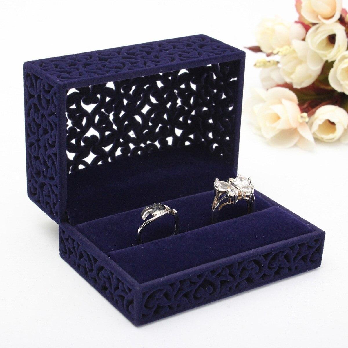 New fashion velvet flock double ring box hollow navy blue for Ring case