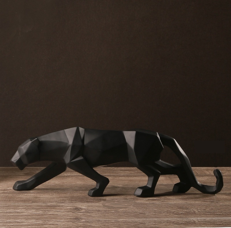 Modern Abstract Black Panther <font><b>Sculpture</b></font> Geometric Resin Leopard Statue Wildlife Decor Gift Craft Ornament Accessories Furnishing