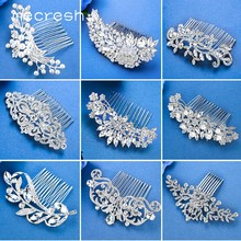 Mecresh Silver Color Rhinestone Flower Leaf Bridal Hair Comb for Girls Crystal Hair Ornaments Jewelry Wedding Hair Accessories(China)