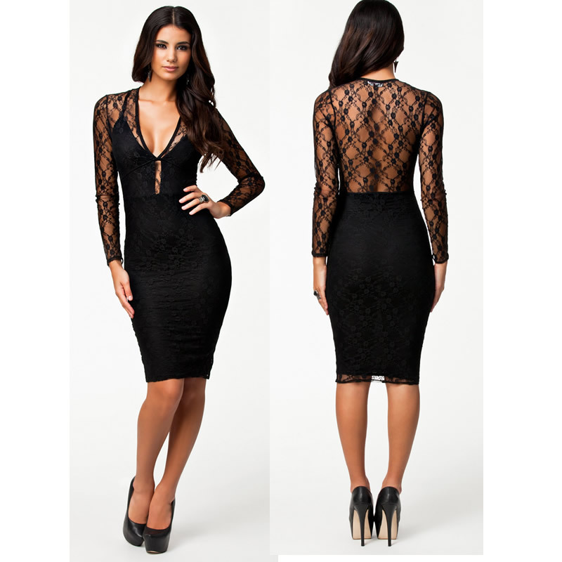 8146daf46c01 New 2014 European Fashion Women Sexy Black Lace Autumn Winter Long Sleeve  Knee Length Bodycon Dress Evening Sexy Bandage Dress