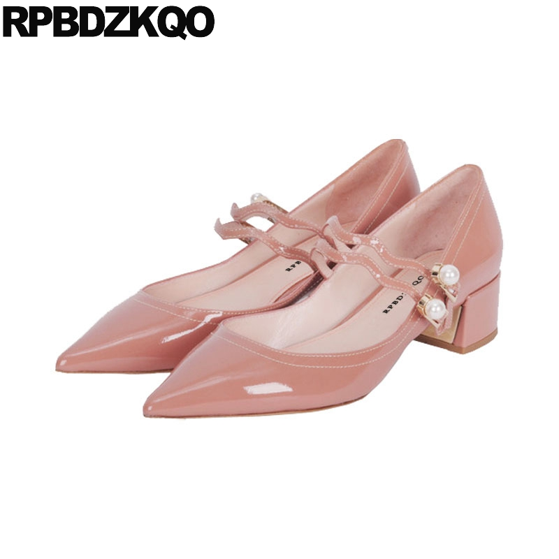 High Heels Strap Nude Quality Chunky Mary Jane Ivory Bridal Shoes Pumps Women Big Size Patent Leather Pointed Toe Pearl New Pink