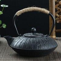 Ferro velho Ferro chaleira Chaleira 900 ML de Ferro panela de ferro Fundido ferro Fundido Bule de chá chaleira plana jogo de Chá jarro de água