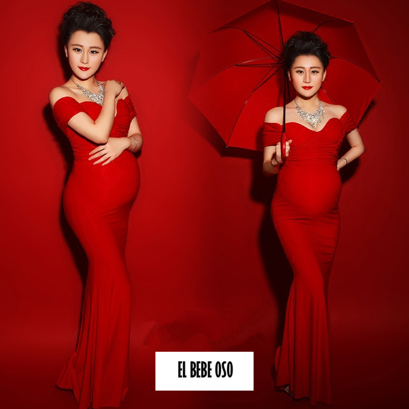 EL BEBE OSO Fashion Maternity Dresses Photography Props Summer Formal Pregnant Women Maxi Dress Sexy Maternity Clothes Retail