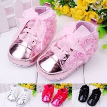 Solid Rose Flower Baby Girl Shoes With Beautiful Riband Kids Casual Shoes For First Step Baby Girls